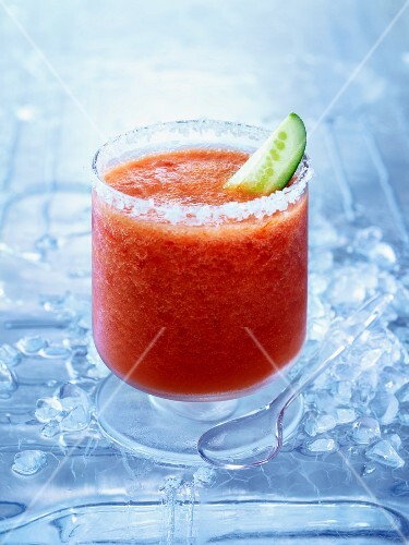 Frozen Bloody Mary with a slice of cucumber