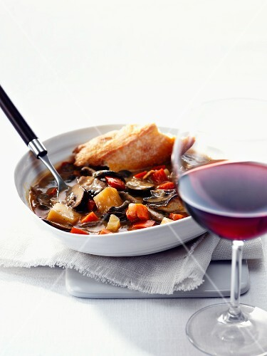 Mushrooms stew with baguette from Provence