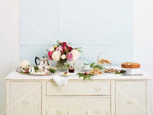 A Christmas buffet with tea and cake
