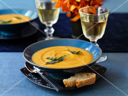 Lentil and sweet potato soup and two glasses of wine