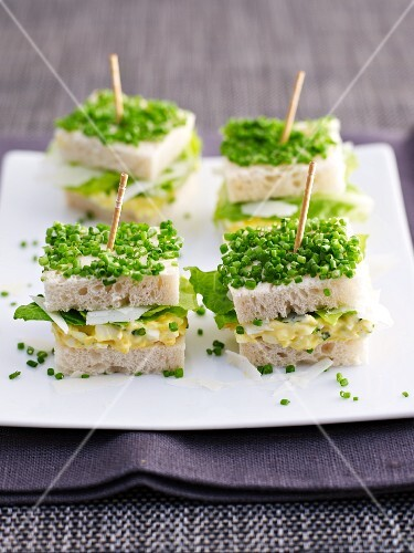 Egg salad and chive sandwiches