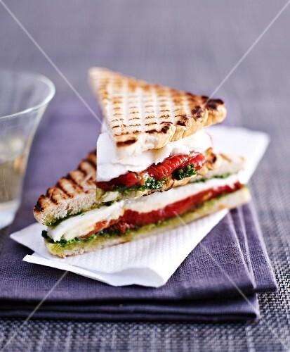 Tomato and mozzarella sandwiches