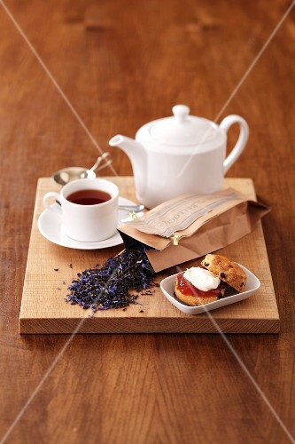 Tea and a scone with jam