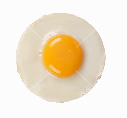 A fried egg, seen from above
