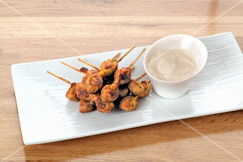 Mini kebabs with a dip
