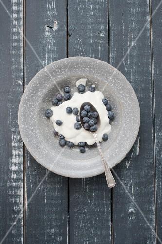 Blueberries and yoghurt in a grey enamel bowl