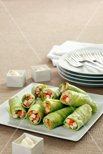 Lettuce rolls filled with chicken and carrots with mayonnaise