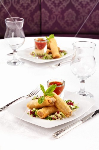 Spring rolls with salad and a chilli dip