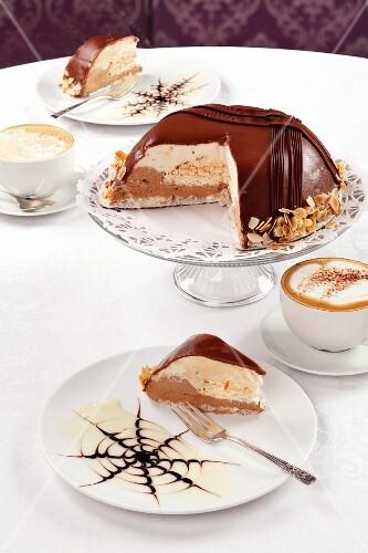 Dome cake and coffee