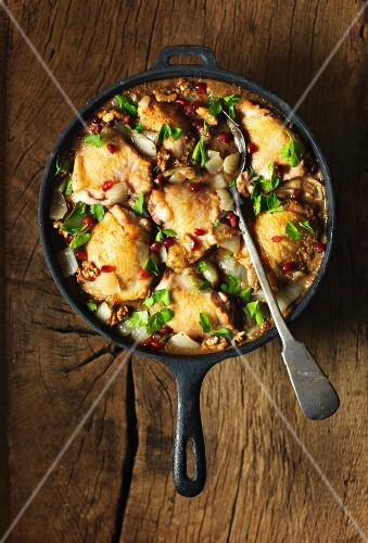 Persian chicken stew with walnuts and pomegranate seeds