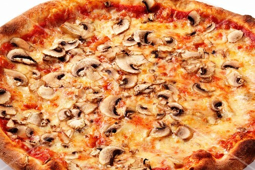 A mushroom pizza