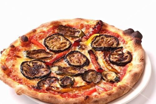A courgette, aubergine and pepper pizza