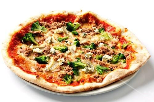 A broccoli, tuna and blue cheese pizza