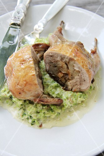 Stuffed quail on a savoy cabbage medley