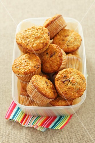 Oat muffins in a plastic container