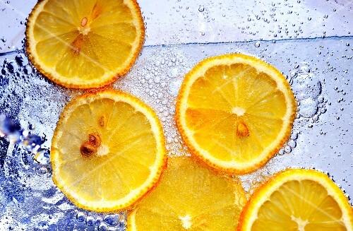 Slices of orange in soda water