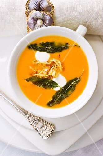 Pumpkin and ginger soup with fried sage leaves