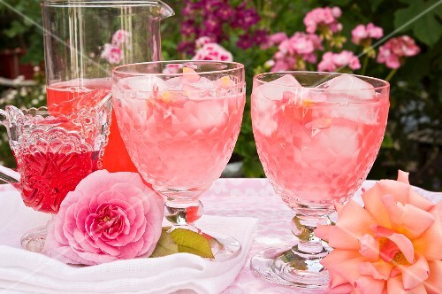 Two glasses of rose syrup with ice cubes and rose petals on a table outside