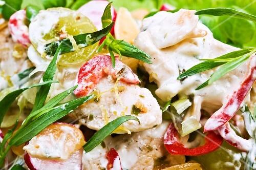 Chicken salad with a creme fraiche dressing, tarragon, grapes and chilli