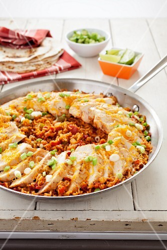 Fiesta Chicken and Rice in a Skillet