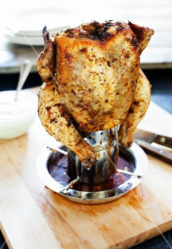 Whole Peruvian Chicken Cooked on a Can
