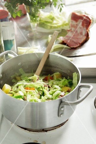 Soup vegetables in a pot