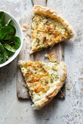Two slices of leek quiche