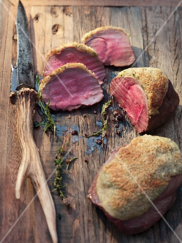 Thick flank of venison with a crust