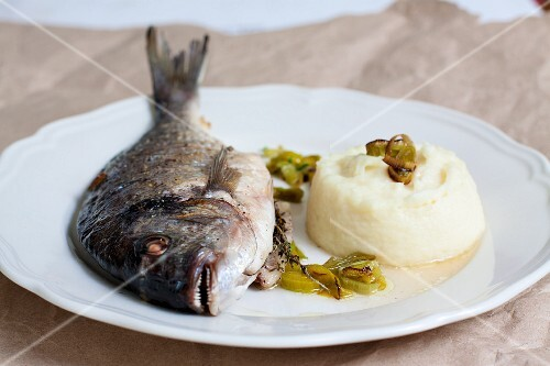 Fried sea bream with parsnip puree