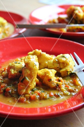 Fish curry with coconut milk and peppers