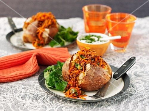 Jacket potatoes with carrot chilli