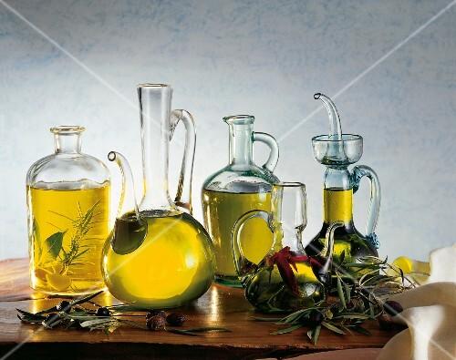 Carafes of olive oil