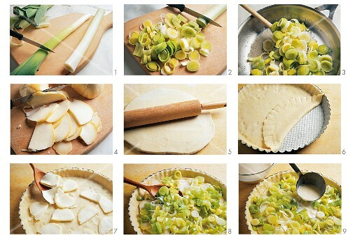 Leek quiche with cheese being made