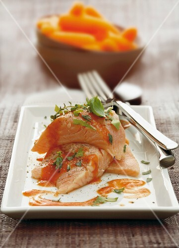 Smoked salmon trout fillet with herbs