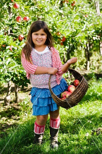 A girl with an apple basket