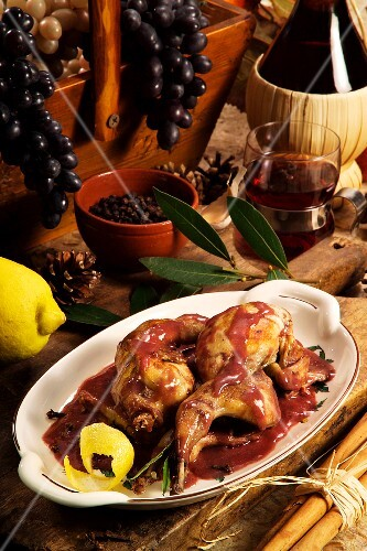 Quail with a mulled wine sauce