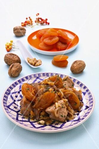 Lamb with dried apricots and walnuts (Iran)