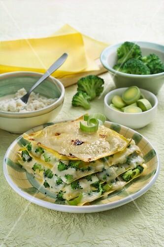 Broccoli and leek lasagne