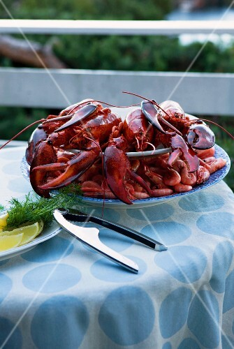 Boiled lobster and prawns