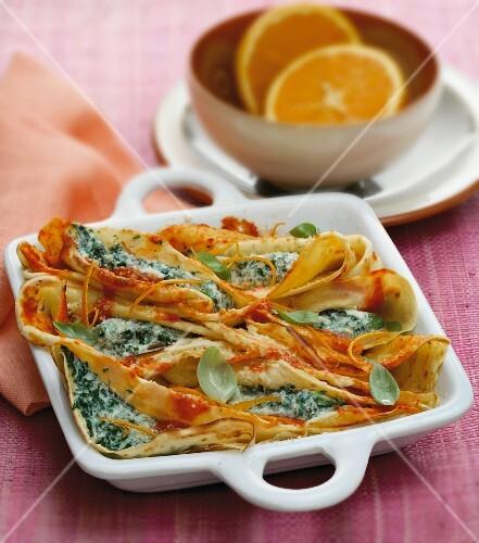 Crespelle with ricotta cream and orange zest