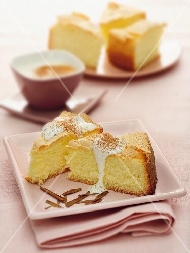Slices of cake with cinnamon cream