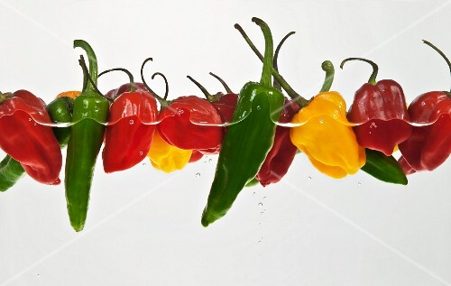 Various chilli peppers in water