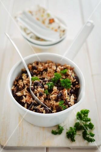 Moros y Cristianos (rice with black beans, Cuba)