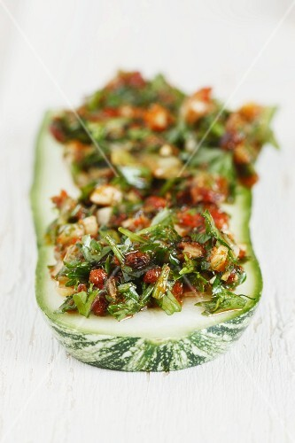 Courgette marinated in chermoula