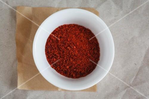 A bowl of Pul Biber (paprika flakes)