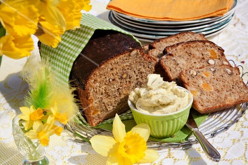 Apricot bread and cheese butter on an Easter buffet (Sweden)