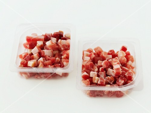 Diced bacon in plastic packages