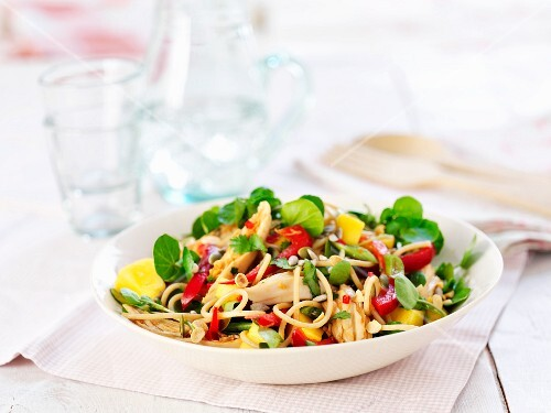 Pasta salad with chicken and pepper