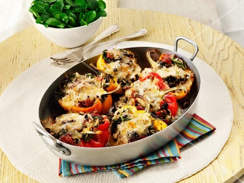 Stuffed, gratinated peppers