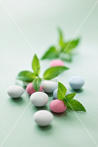Peppermint drops and fresh mint